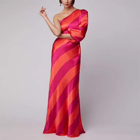 Casual Sexy Off The   Shoulder Strips  Evening Party Maxi   Dresses
