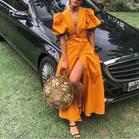 2019 CEA Sexy Deep V Belted Pure Colour Short Sleeve Maxi Dresses