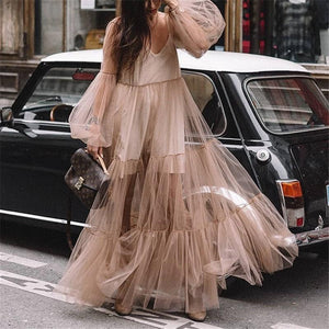 V Neck Long Sleeves Grenadine Pink Maxi Dresses for Women