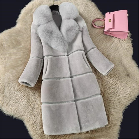 2019 CEA Women's Fashion Mid Long Artificial Fur Coat