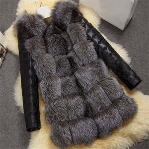 Ecogora Women's Fashion Stitched Leather Sleeve Faux  Fur Coat