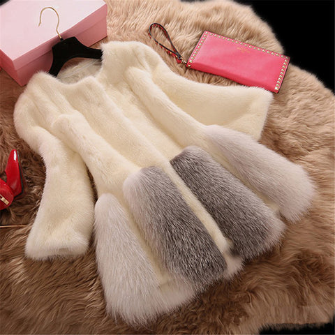 2019 CEA Women's Fashion Round Collar Patched Fur Coat