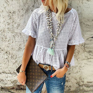 Casual Loose Hollow   Out Short Sleeve Shirt