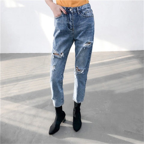 Loose Casual High-Waist Hollow Jeans
