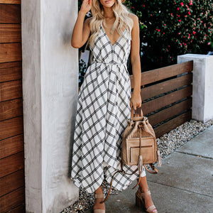 Fashion V Neck Striped Sleeveless Maxi Dresses