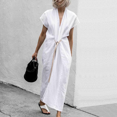 Casual V Neck Plain Belted Split Loose Maxi Dress