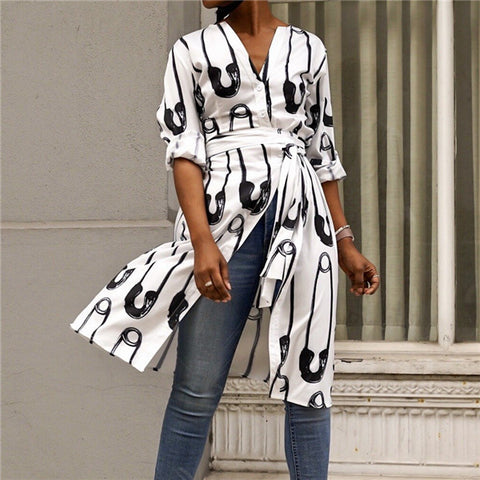 2019 CEA Fashion V Collar Printed Medium Length Shirts Blouse
