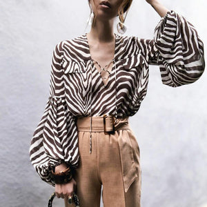 Fashion V Neck Pleated Bishop Sleeve Chiffon Stripe Blouse