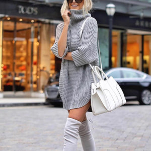 Casual Pile Collar Solid Color Long Sleeve Sweater