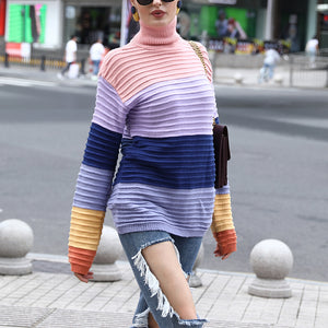 Fashion Round Neck Rainbow Loose Sweater