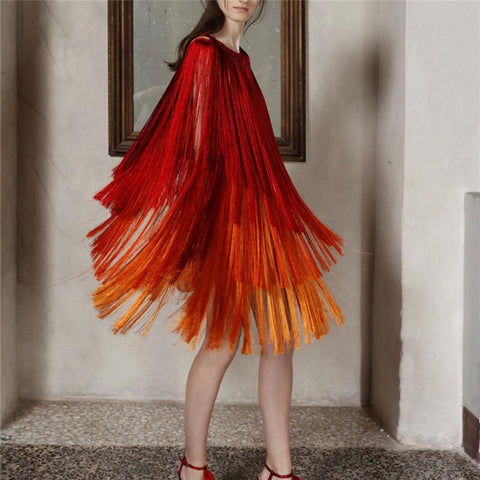 Fashion Tassels Cloak Gradient Splicing Evening Dresses