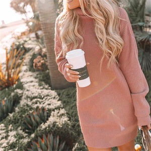 High Neck Knit Sweater Dress