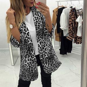 Fashion Leopard Print Bracelet Sleeve Button Blazer