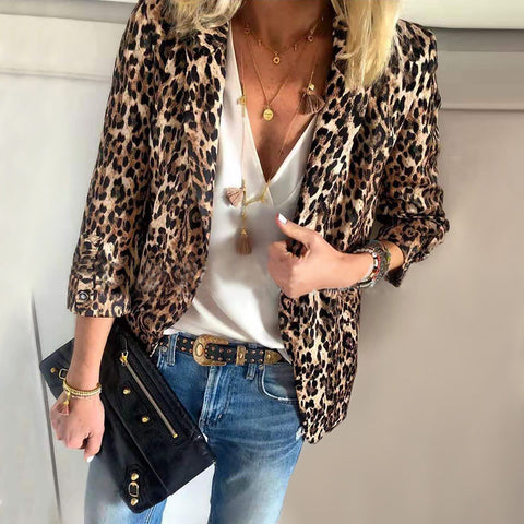 Fashion Leopard Print Turndown Collar Long Sleeve Blazer