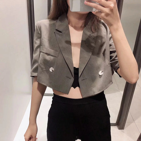 Korean Version Of The Wild Double-Breasted High Waist Short Small Suit