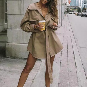 Casual Loose Lapel Waist Long Shirt Long Sleeve Trench Coat