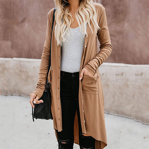 Casual Long Sleeve Pure Color High-Low Cardigan