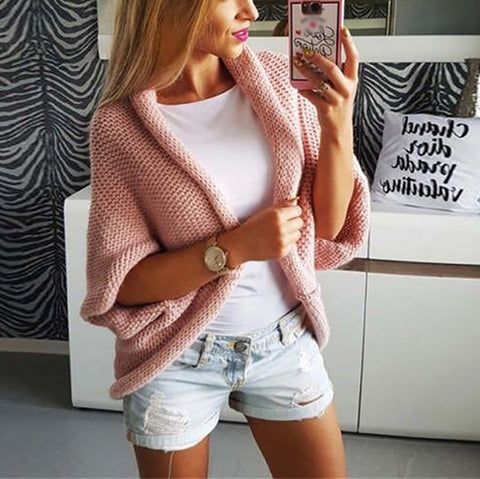 Casual Loose Sleeve Pure Color Sweater