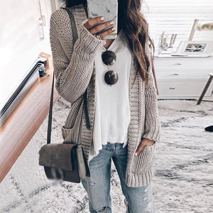 Fashion Long Sleeve Pure Color Sweater Cardigan