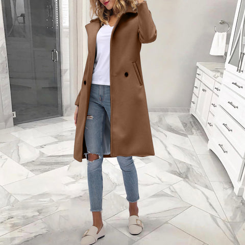 Fashion fold collar solid color stitching coat