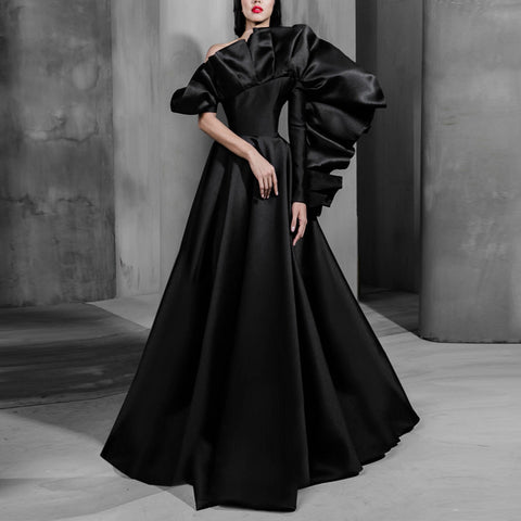 Elegant Pure Black Irregular Pleated Unilateral Sleeve Evening Dress