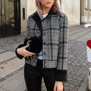 Casual Plaid Anti-Fur Coat
