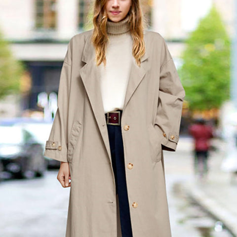 Casual Solid Color Loose Wild Single-breasted Trench Coat
