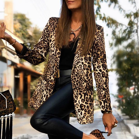 Fashion A Lapel Leopard Print Jacket