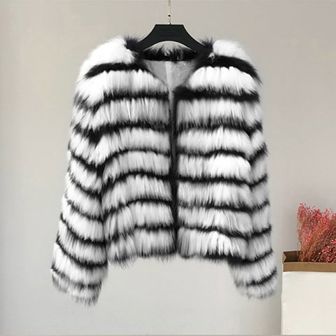 Women's New Short Faux Fox Fur Jacket