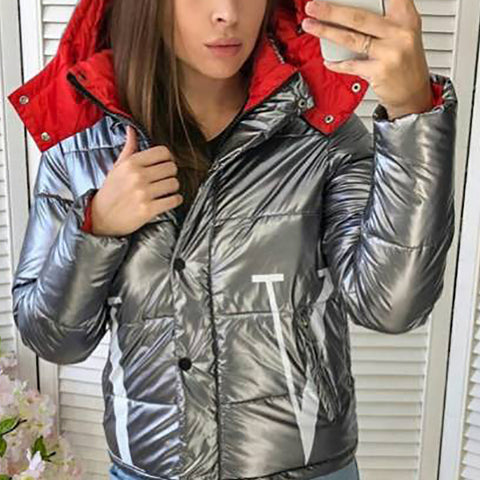 Women's Shiny Long Sleeve Short Cotton Coat