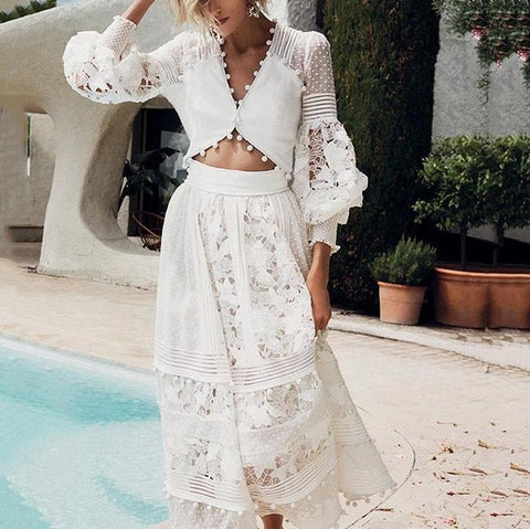 Sweet V Neck Hollow Out Lace Pure Colour Top-Skirt Suit
