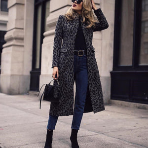 2019 CEA Women's Fashion Leopard Print Long Sleeve Coat