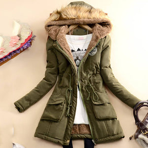 Casual fur collar female hooded padded jacket