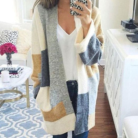 2019 CEA Women's Color Block Ribbed Cardigan