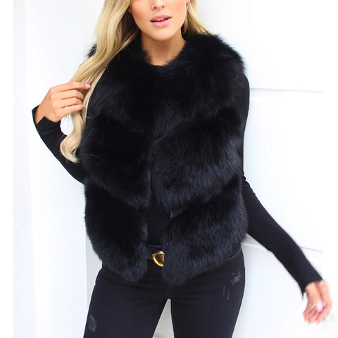 Women's Fashion Faux Fur Vest New Short Stitching Sleeveless Jacket