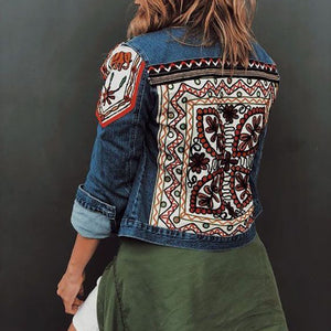 Women's casual geometric decorative patch denim jacket