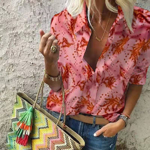Fashion Middle Sleeve Printed Color Loose Blouse