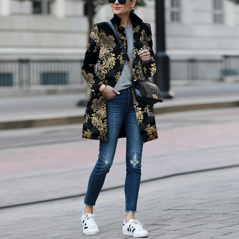 2019 CEA Women's Fashion Printed Colour   Printed Long Sleeve Coat