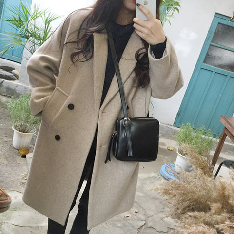 Lapel solid color double-breasted wool coat