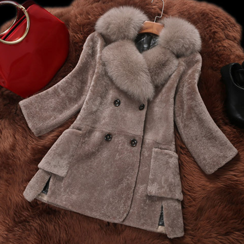 Women's Mid-Length Fur Collar Faux Fur coat