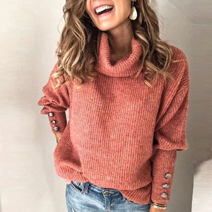 Women's high collar loose casual solid color sweater