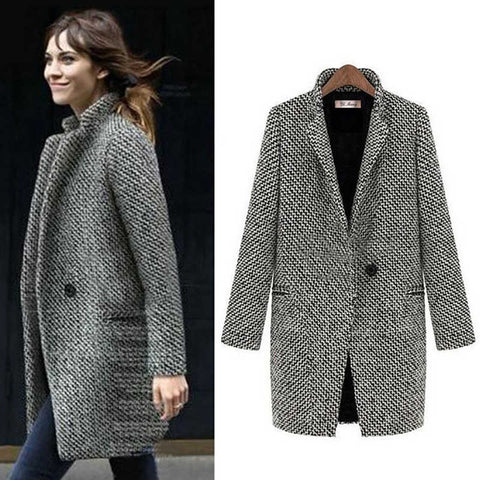 2019 CEA Houndstooth Coat Slim Thick Overcoat