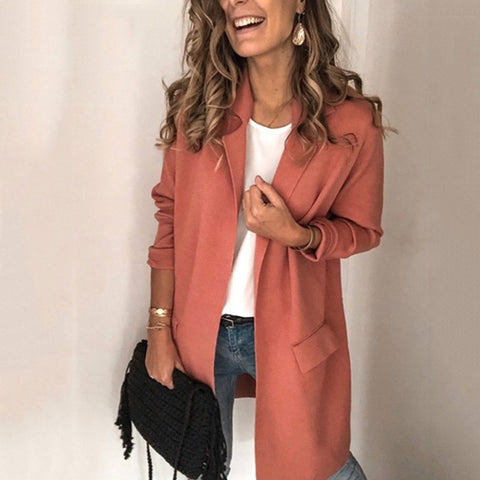 Casual Womens Pure Color Lapel Long Sleeve Blazer