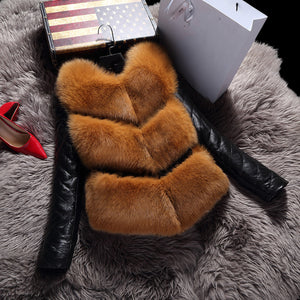 Faux fox fur stitching PU fur coat short detachable long sleeve vest cotton coat
