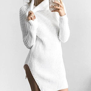 Hollow Split Hem High Collar Sweater