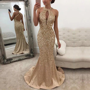 Sexy Halter Sequined Halter Dress Evening Dress