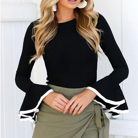 2019 CEA Women's Round Neck Slim Ruffled Long Sleeve Knit T-Shirt