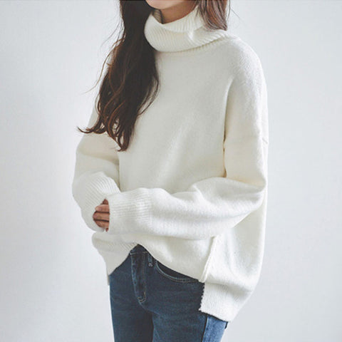 Fashion white high collar loose side slit sweater