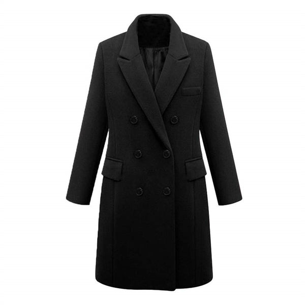 Fashion Lapel Solid Color Double Breasted Overcoat