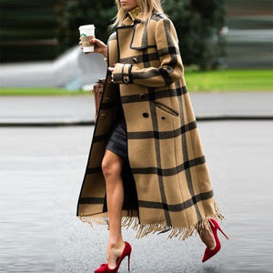 2019 CEA Women's Chic Casual Color Block Plaid Lapel Shoulder Padded Long Coat